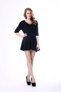 Black Casual Elegant Western Fashion Loose Women Dress pictures & photos