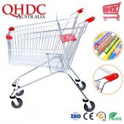 Metal and Plastic Unfolding Supermarket Trolley Cheap Grocery Shopping Carts 125L for Sale