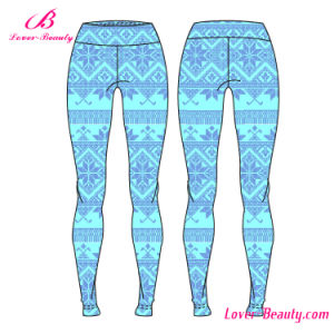 Lightweight Polyester Spandex Pants Snow Pattern Sportwear Yoga Leggings