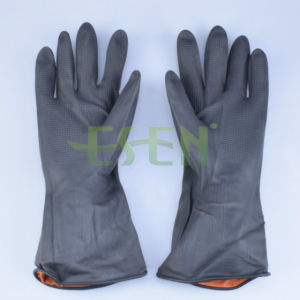 Rubber Glove--Black Color Chemical Resistant Industrial Latex Rubber Work Gloves pictures & photos