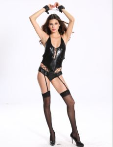 Woman Sexy PU Erotic Clubwear with Suspender Slip pictures & photos
