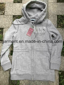 Stock Clothing, Lady′s Long Style Winter Hoodie, Cheaper Price Garmen pictures & photos