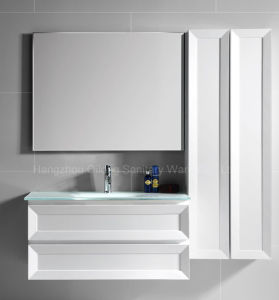 Two Drawers PVC Hanging Home Furniture in Bathroom with Mirror pictures & photos