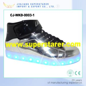 Unisex High Top Laces up Light up Shoes Casual LED Shoes India pictures & photos