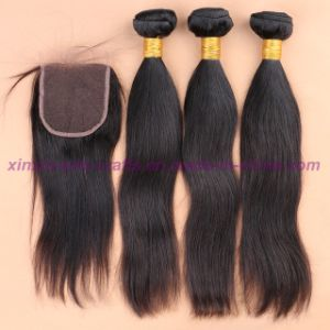 8A Unprocessed 3/4 Bundles with Lace Closure Mongolian Virgin Hair Straight with Closure Human Hair Weave with Closure pictures & photos