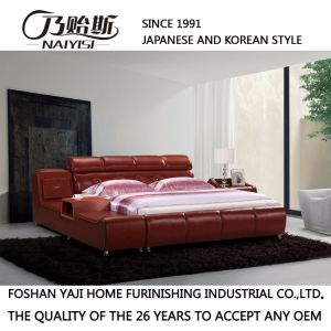 Korea Style Modern Genuine Leather Sofa Bed for Living Room Furniture-Fb8141 pictures & photos
