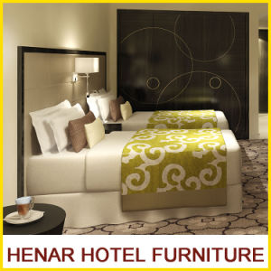 Black Wooden Frame Grey Faux Leather Hotel Bedroom Furniture Set pictures & photos