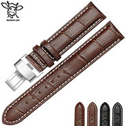 Customized Your Logo Leather Wrist Strap 16mm/18mm/19mm/20mm/21mm/22mm/24mm Genuine Leather Watch Band