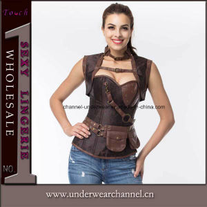 Latex Sexy Women Leather Lingerie Bustiers Steampunk Corset for Wholesale (TA21651) pictures & photos