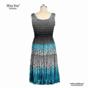 Miss You Ailinna 780033 Sleeveless Women Pleated Summer Cotton Dress Distributor pictures & photos