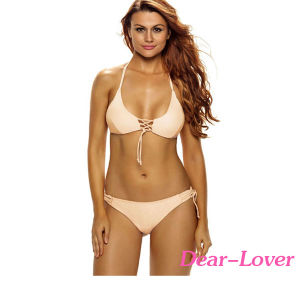 Cheap Stylish Tie Detail Halter 2PCS Bathing Suit Bikini Swimwear pictures & photos