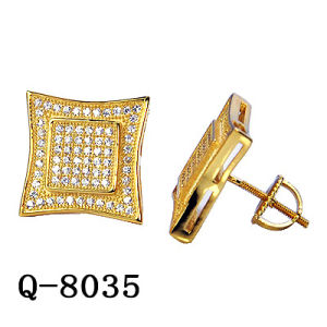 Wholesale Hip Hop Men′s Sterling Silver Fashion Jewelry 14 K Gold Plated Cubic Zirconia Rapper Stud Earrings pictures & photos