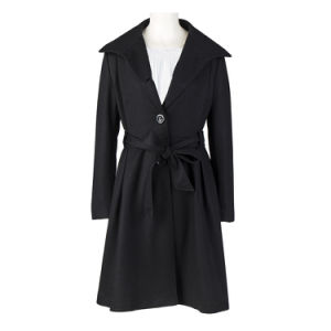 Winter Ladies Coat Black Thicken Wool Blend Long Overcoat pictures & photos