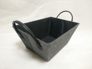 Paperloom Single Tapered Basket with Faux Leather Handle Black
