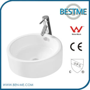 Bathroom Top Mounted Single Faucet Hole Ceramic Basin pictures & photos