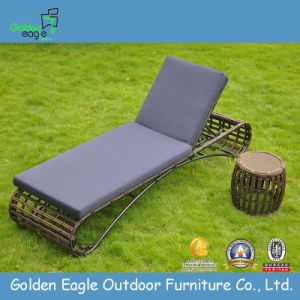 Round PE Rattan Chaise Lounge with Aluminum Frame pictures & photos