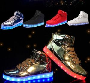 Unisex USB Lights Luminous Shoes Sportswear Kids with Lace up pictures & photos