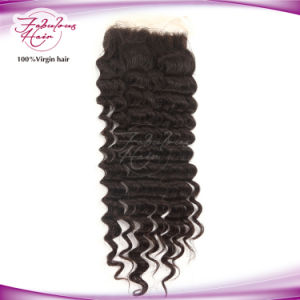 Deep Wave Free/MID/Three Part Idian Temple Hair Lace Closure pictures & photos