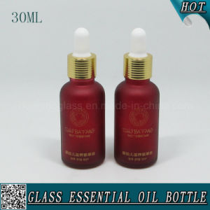 30ml Dark Red Frosted Cosmetic Glass Essential Oil Bottle pictures & photos