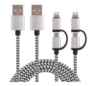 Nylon Braided 2 in 1 USB Data Cable for Android iPhone pictures & photos