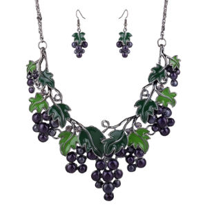 Fashion Fruit Grape Statement Choker Necklace Earring Set Jewelry pictures & photos