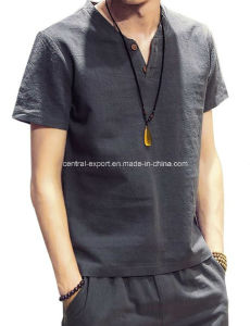 New Style Flax Fashion Men′s T- Shirt pictures & photos