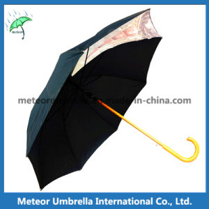 Good Quality Fashion Mens Black Printed Golf Straight Umbrella