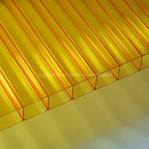 10mm Yellow Polycarbonate Twin Wall Sun Panel with UV Layer pictures & photos