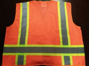 Safety Vest Flu Orange with Reflective Caution Band pictures & photos