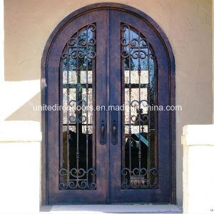 Exterior Round Top Wrought Iron Double Door (UID-D005) pictures & photos