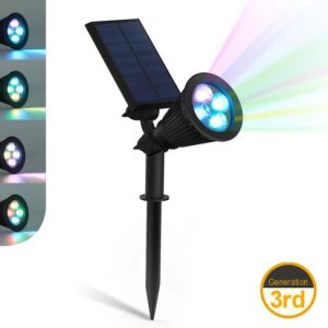 4 LED Color Changing Solar Light Spotlight Outdoor Wall Lamp pictures & photos