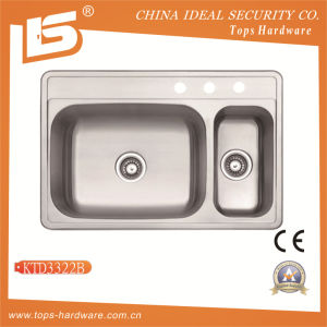 Double Bowl Stainless Steel Sink of Ktd3322b, Industrial Double Sink pictures & photos