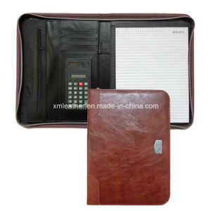 Zipper Letter Size Leather Folio with Calculator pictures & photos