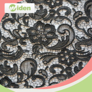 Milky Polyester 110cm Chemical Gold Lace Fabric pictures & photos