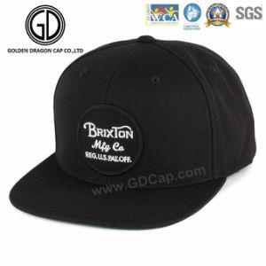 Custom 100% Cotton Comfortable Classic Black Snapback Cap with Badge pictures & photos
