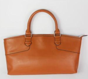 Guangzhou Supplier Fashionable Genuine Leather Lady Brown Handbag (196)