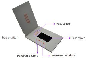 4.3 Inch Customized Rechargeable Mini USB Video Greeting Brochure (VC-043) pictures & photos