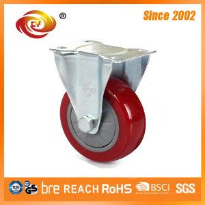 5 Inch Red PU Fixed Medium Duty Caster