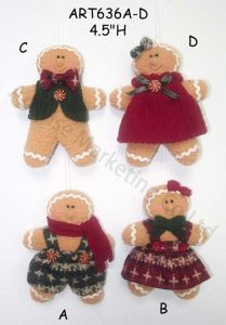 Fleece Gingerbread Holiday Tree Ornament Souvenir-3asst. pictures & photos