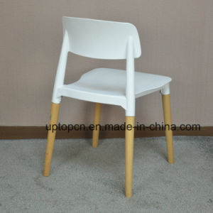 (SP-UC018) Commercial Furniture Backrest Dining Plastic Chair with Wood Leg pictures & photos