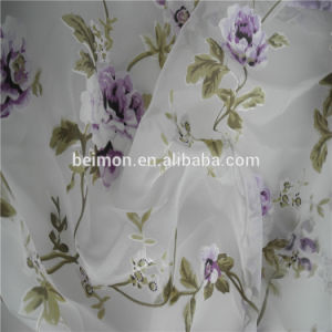 Flower Printed &Burn out Tulle Organza Fabric pictures & photos