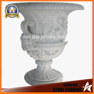 Cheap White Marble Stone Carving Flower Pot Stand for Garden Decoration (NS-11P14) pictures & photos