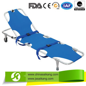 Aluminum Alloy Automatic Loading Medical Stretcher with Wheels pictures & photos