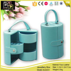 China Manufacturer Pink Handle Cylindrical PU Leather Custom Made Jewelry Box (4280) pictures & photos