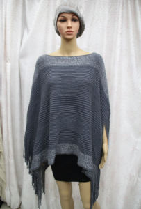 Female Fashion Silver Striped Acrylic Knitted Winter Fringe Poncho (YKY4499) pictures & photos