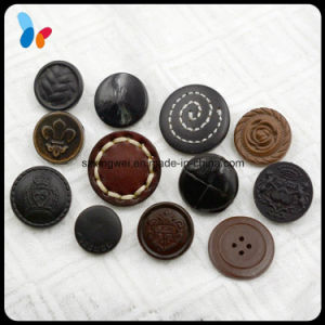 Custom Made Convex Logo Genuine Leather Button Sew on Button for Suit pictures & photos