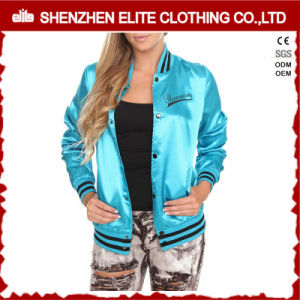 Custom 100% Polyester Satin Baseball Bomber Jacket Womens pictures & photos