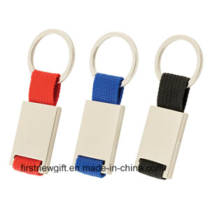Promotional Popular Gifts Rectangle Pantone Color Ribbon Key Chain (F1016)