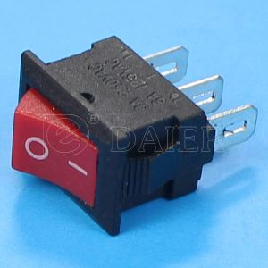 Small Spdt Red Button Black Body Rocker Switch pictures & photos