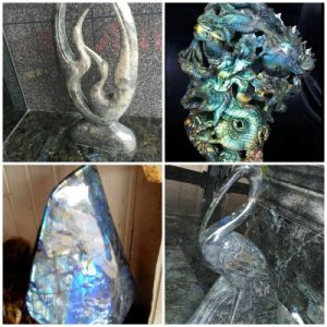"Amazing Flash Huge 7.9"" Blue Labradorite Crystal/Jade Fishes/Dragon/Swan Carved Sculpture pictures & photos"